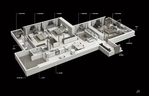 TYPICAL ISOMETRIC 3BHK
