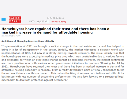 Homebuyers have regained their trust and there has been a marked increase in demand for affordable housing