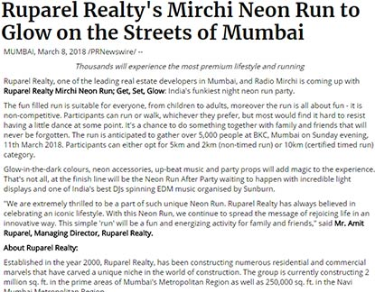 Ruparel Realty, one of the leading real estate developers in Mumbai, and Radio Mirchi is coming up with Ruparel Realty Mirchi Neon Run; Get, Set, Glow: India's funkiest night neon run party