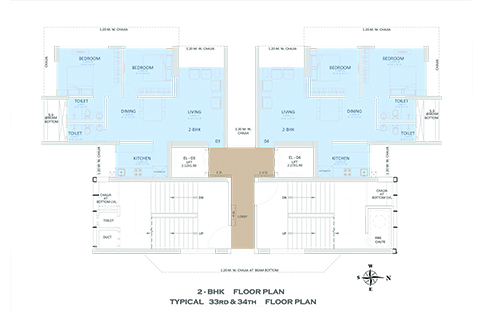 2 - BHK FLOOR PLAN