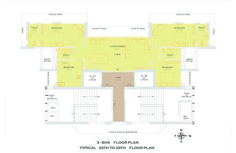 3 - BHK FLOOR PLAN