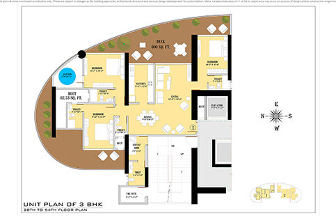 UNIT PLAN 3 BHK 28TH TO 54TH