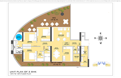 UNIT PLAN 3BHK 10TH TO 18TH FLOOR PLAN