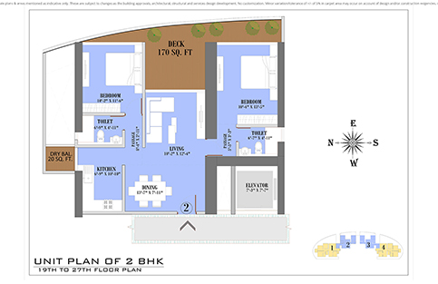 UNIT PLAN 2BHK 19TH TO 27TH FLOOR PLAN
