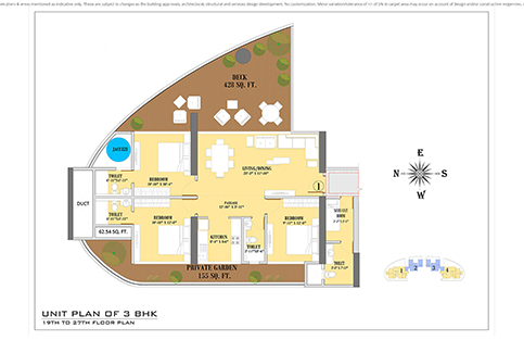 UNIT PLAN 3BHK 19TH TO 27TH FLOOR PLAN