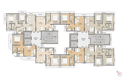 TYPICAL FLOOR PLAN 1ST TO 22ND FLOOR